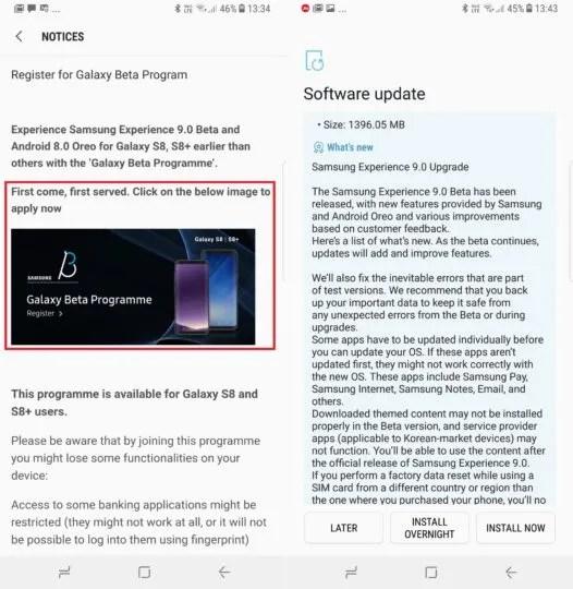 Galaxy S8 Android Oreo Beta