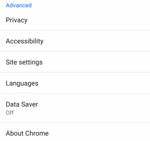 Google Chrome for Android Language Settings