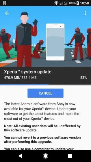 Sony Xperia XA1 Android Oreo Update