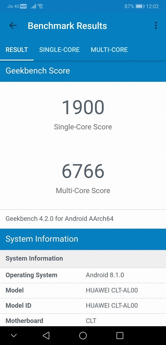 Huawei P20 Pro Geekbench Benchmark