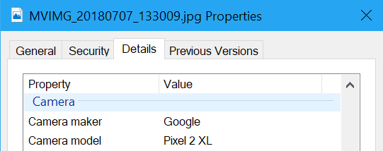 Google Photos EXIF data