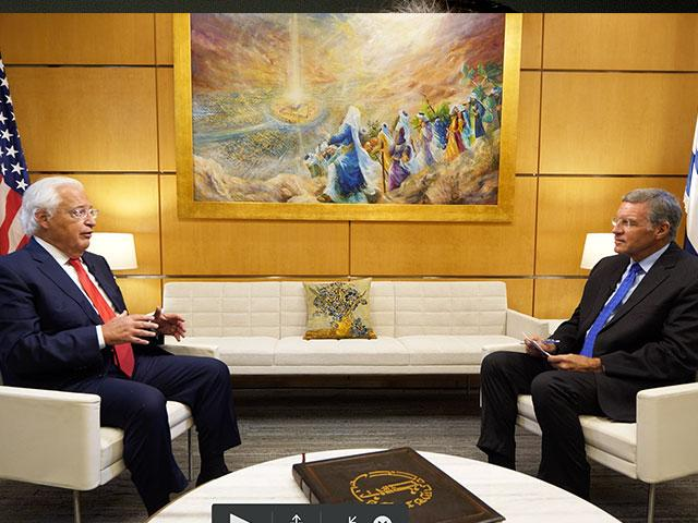US Ambassador to Israel sits down with CBN News at the US embassy in Jerusalem. Photo credit: CBN News. Oct. 28, 2020.