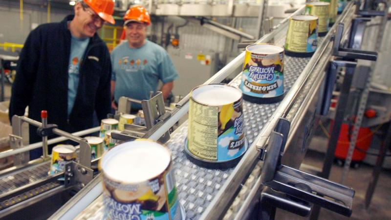 In this March 23, 2010 file photo ice cream moves along the production line at Ben & Jerry's Homemade Ice Cream, in Waterbury, Vt.  (AP Photo/Toby Talbot, File)