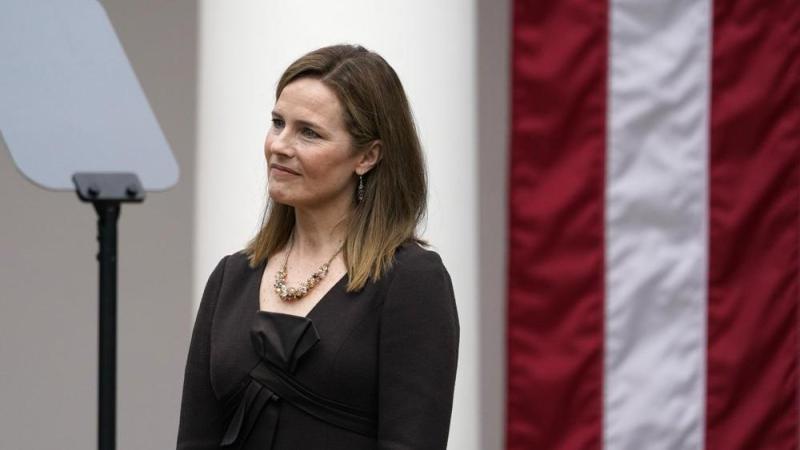 Judge Amy Coney Barrett listens as President Trump announces Barrett as his nominee to the Supreme Court (AP Photo/Alex Brandon)