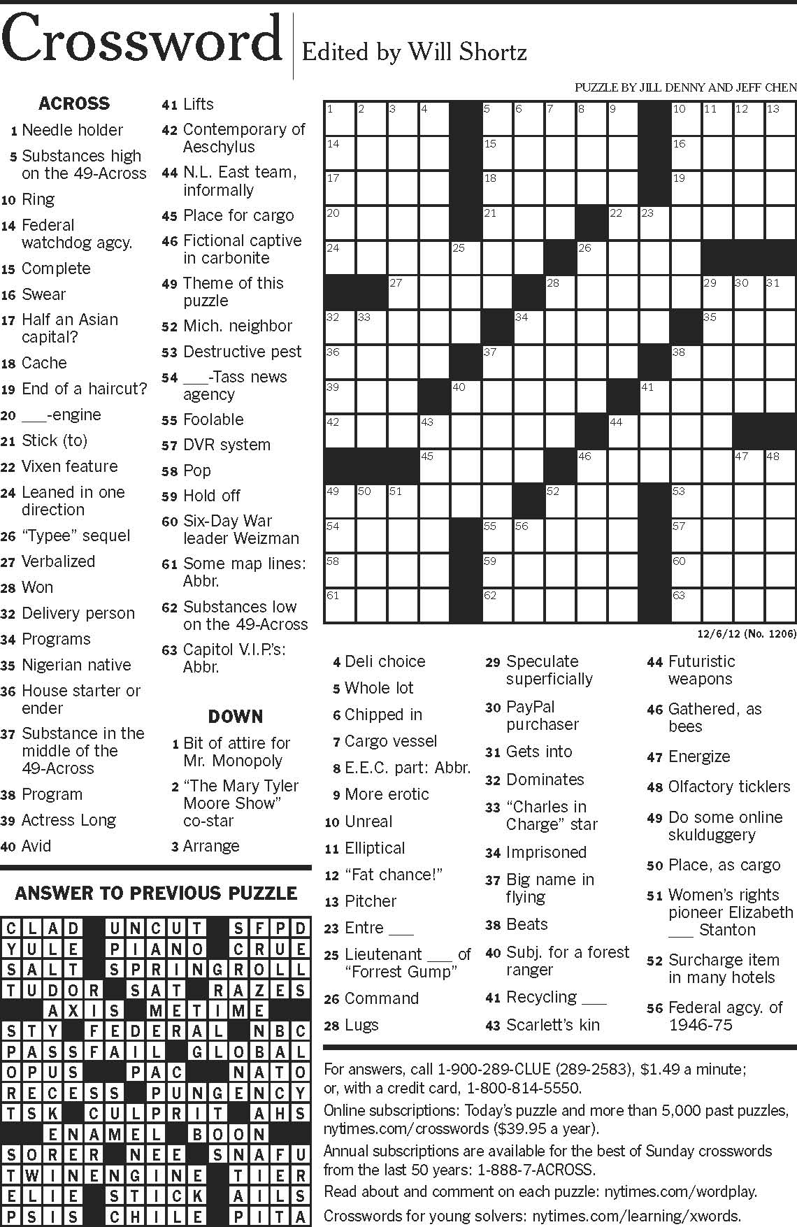 Chenistry Crossword Puzzle by Jill Denny and Jeff Chens