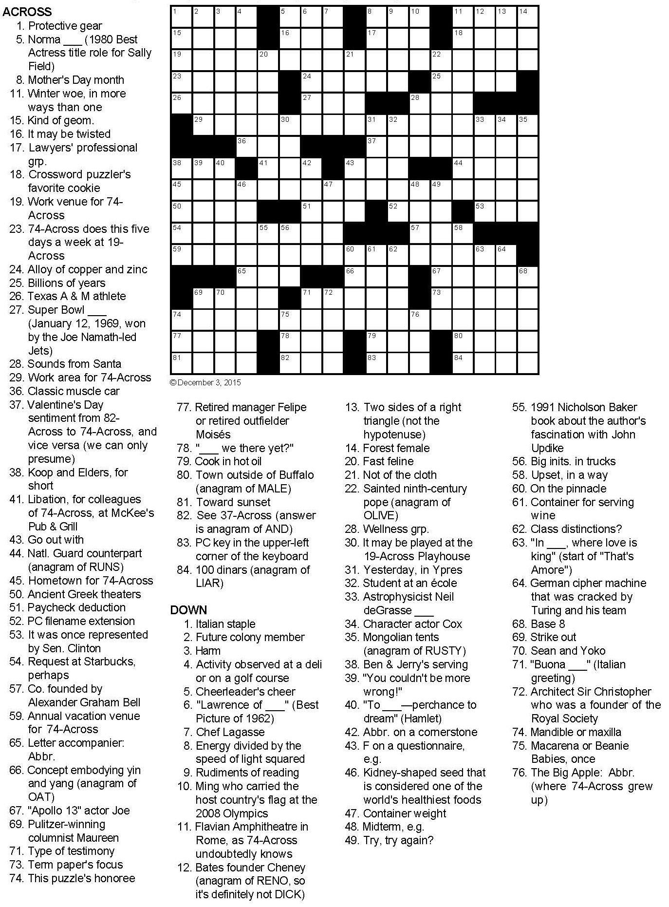 Not Your Garden-Variety Birthday Present Crossword Puzzle