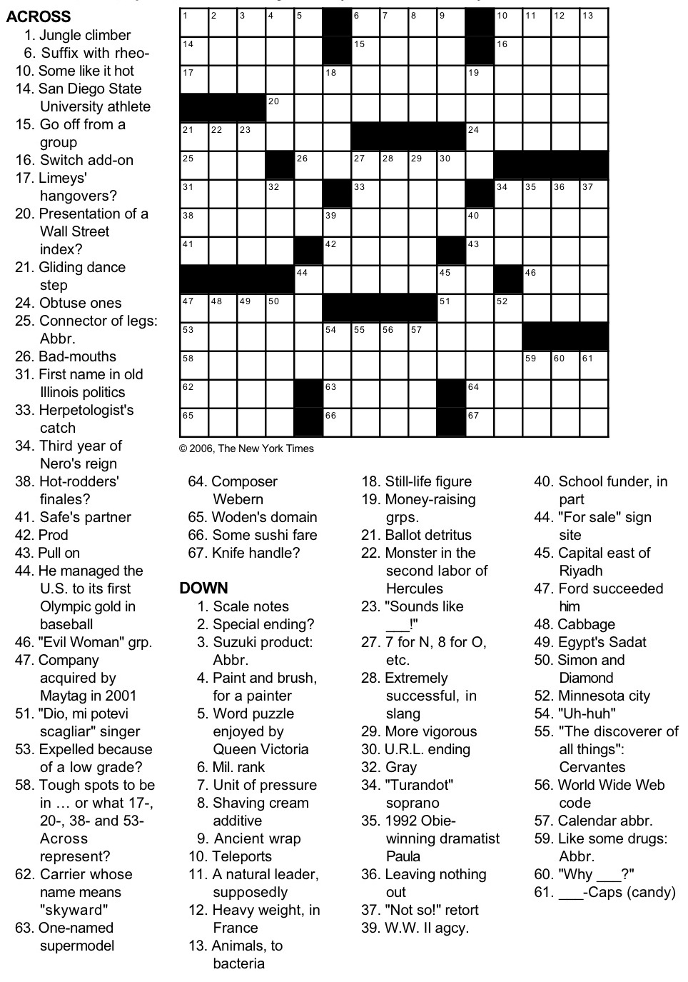 Nytimes Puzzles : nytimes, puzzles, Times, Crossword, Puzzle, George, Barany, Michael, Shteyman