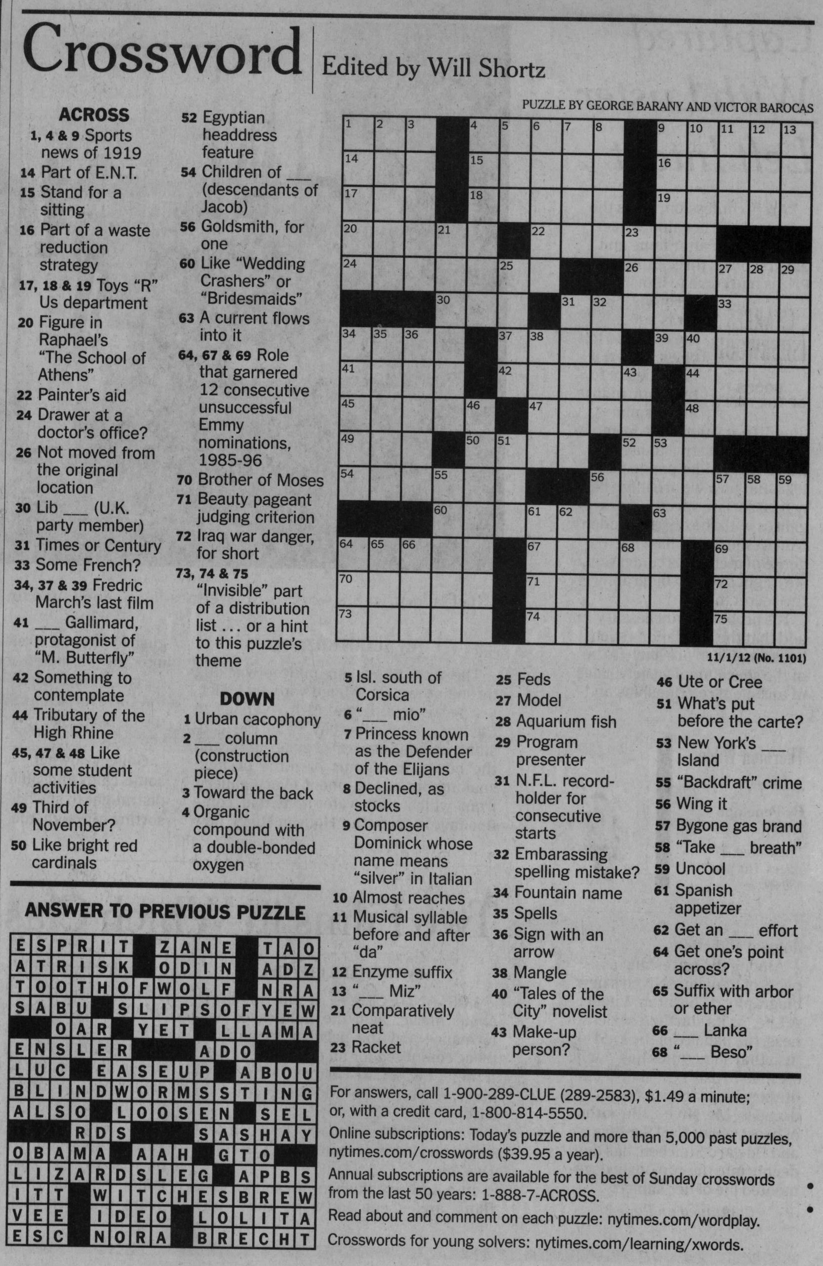 Nytimes Puzzles : nytimes, puzzles, Barany, Barocas, Crossword, Puzzle