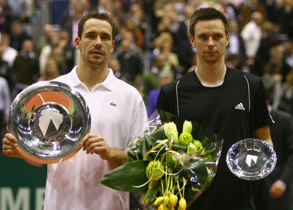 Michael Llodra Michael Llodra of France (L) and Robin Soderling of Sweden (R) pose with their trophies after the singles final of the ATP 35th ABN AMRO World Tennis Tournament at the Ahoy Centre Rotterdam on February 24, 2008 in Rotterdam, Netherlands.