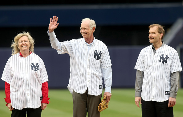 """(L-R) US Airways crew member Doreen Welsh, pilot, Captain Chesley """"Sully"""" Sullenberger and co-pilot Jeffrey Skiles take the field prior to the game between the New York Yankees and the Chicago Cubs during their game on April 4, 2009 at Yankee Stadium in the Bronx borough of New York City.  (Photo by Nick Laham/Getty Images)  Chesley Sullenberger;Doreen Welsh;Jeffrey Skiles"""