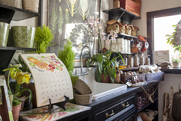 Garden - Houseplants, garden tools, and autumnal clippings on display