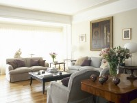 Beige-Gray Traditional Family Room - Living Room Design ...
