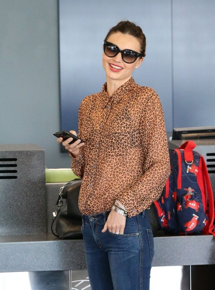 Miranda Kerrs Leopard Print ButtonDown  The NonBoring ButtonDowns  StyleBistro