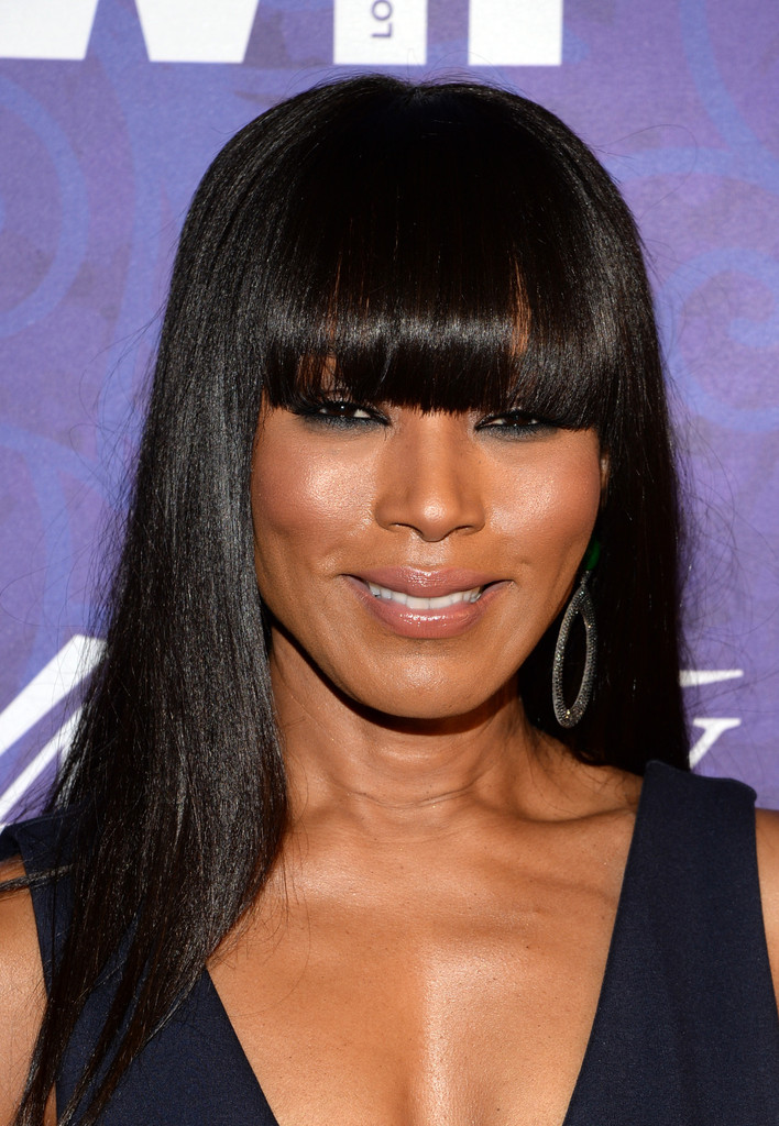 Angela Bassett Long Straight Cut With Bangs Long