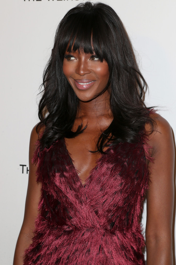 Naomi Campbell Long Wavy Cut with Bangs  Naomi Campbell Looks  StyleBistro