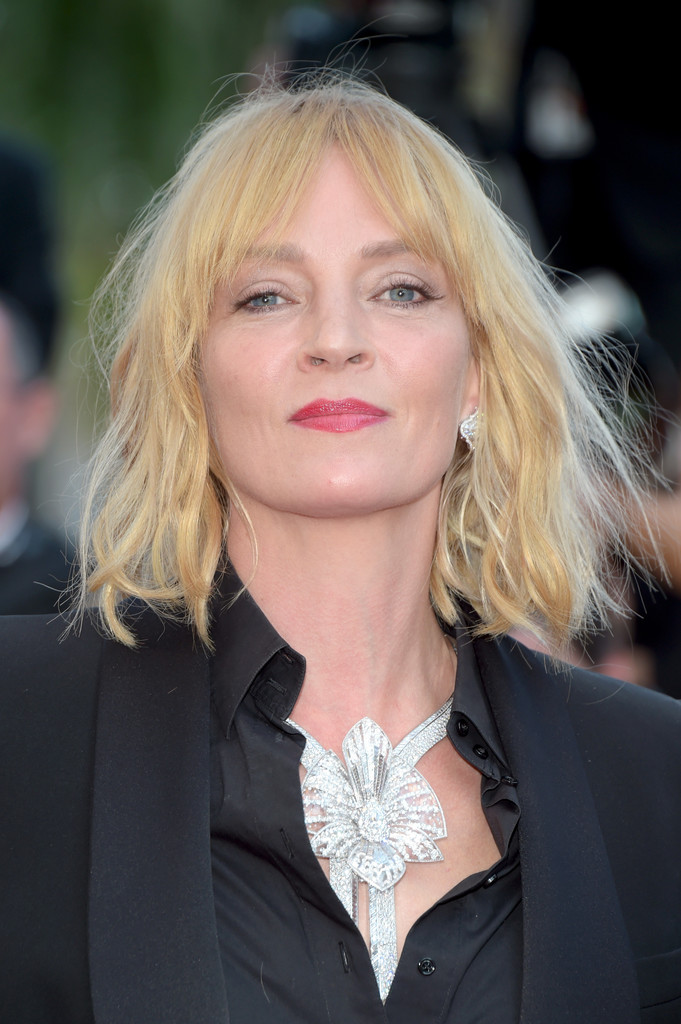 Uma Thurman Medium Wavy Cut with Bangs  Medium Wavy Cut with Bangs Lookbook  StyleBistro
