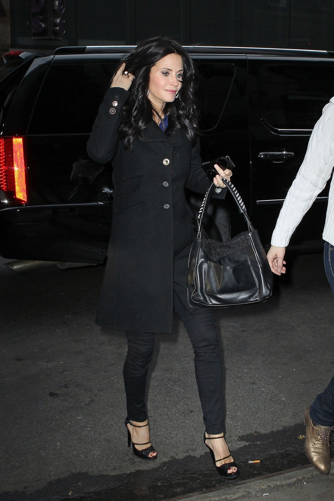 Courteney Cox Leather Shoulder Bag  Courteney Cox Looks  StyleBistro