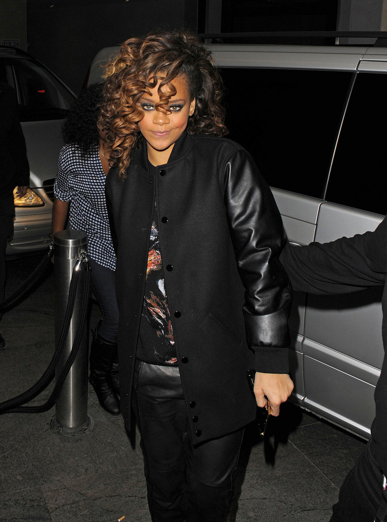 Rihanna Leather Coat  Rihanna Looks  StyleBistro