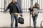 "Couple Fergie and Josh Duhamel take their son Axl out for breakfast in Brentwood, California on December 27, 2014. Fergie has been busy these last few months recording her second solo album due for release early next year and recently released her first single ""LA Love (La La)."""