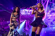 Recording artists Nicki Minaj (L) and Ariana Grande perform onstage during the 2014 iHeartRadio Music Festival at the MGM Grand Garden Arena on September 19, 2014 in Las Vegas, Nevada.