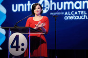 Presenter Demi Lovato speaks onstage at the 2nd Annual unite4:humanity presented by ALCATEL ONETOUCH at the Beverly Hilton Hotel on February 19, 2015 in Los Angeles, California.