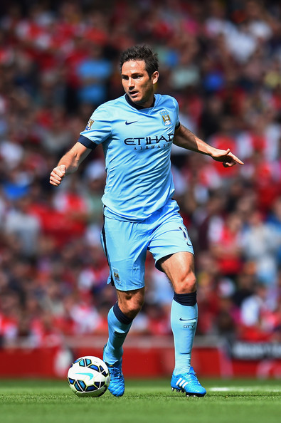 Frank Lampard of Manchester City on the ball during the Barclays Premier League match between Arsenal and Manchester City at Emirates Stadium on September 13, 2014 in London, England.