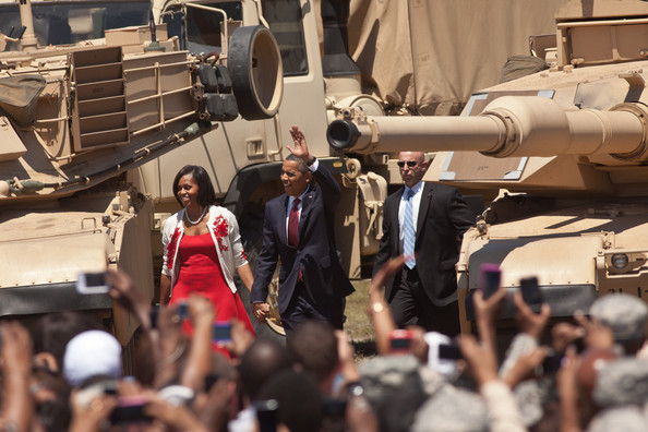 Barack Obama - President And Mrs Obama Visit Troops At Ft Stewart Military Base