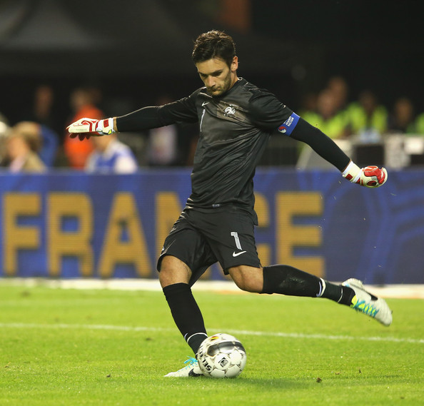 Hugo Lloris of France kicks the ball upfield during the International friendly match between Belgium and France at the King Baudouin Stadium on August 14, 2013 in Brussels, Belgium.