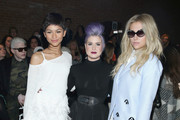(L-R) Zendaya, Kelly Osbourne, and Kesha attend the Christian Siriano Fashion Show at ArtBeam on February 14, 2015 in New York City.