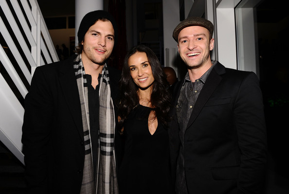 Demi Moore (L-R) Actors Ashton Kutcher, Demi Moore and Justin Timberlake