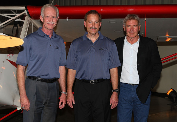 (L-R) Pilolts Chesley Sully Sullenberger, Jeffrey Skiles and actor/pilot Harrison Ford attend the EAA Young Eagles Program press conference at the Santa Monica Airport on September 29, 2009 in Santa Monica, California.