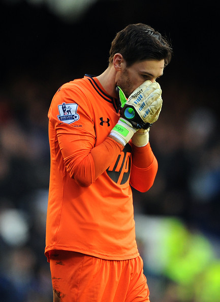 Hugo Lloris of Tottenham Hotspur reacts during the Barclays Premier League match between Everton and Tottenham Hotspur at Goodison Park on November 03, 2013 in Liverpool, England.