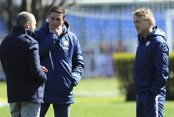(L-R) Sporting Director of FC Internazionale Milano Piero Ausilio, Vice President of FC Internazionale Milano Javier Zanetti and FC Internazionale Milano coach Roberto Mancini during a FC Internazionale training session at the club's training ground on April 7, 2015 in Appiano Gentile Como, Italy.