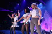 (L-R) Camila Cabello, Normani Kordei Hamilton, and Dinah Jane Hansen of Fifth Harmony performs on the Honda Stage at iHeartRadio Theater on February 5, 2015 in Burbank, California.
