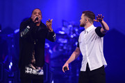 Jay-Z (L) and musician Justin Timberlake perform on stage at Barclays Center on December 14, 2014 in the Brooklyn borough of New York City.