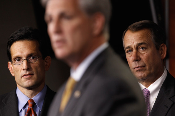 Kevin McCarthy Speaker of the House-elect John Boehner (R-OH) (R) and Majority Leader-elect Rep. Eric Cantor (R-VA) (L) listen to Majority Whip-elect Rep. Kevin McCarthy (R-CA) during a news conference at the U.S. Capitol November 18, 2010 in Washington, DC. This was the first news conference following the House GOP leadership elections in the wake of the November's midterm elections.