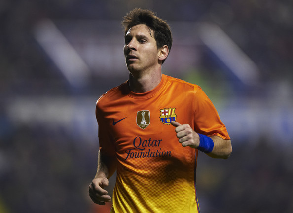 Lionel Messi of Barcelona looks on during the la Liga match between Levante UD and FC Barcelona at Ciutat de Valencia on November 25, 2012 in Valencia, Spain.