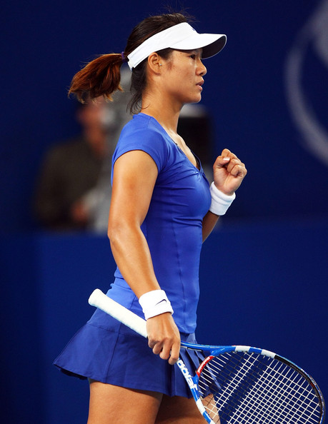 Li Na Li Na of China reacts after winning a point against Alisa Kleybanova of Russia during day five of the 2010 China Open at the National Tennis Centre on October 5, 2010 in Beijing, China.