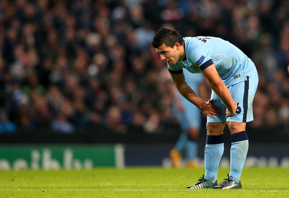 Sergio Aguero of Manchester City reacts during the UEFA Champions League Group E match between Manchester City and FC Bayern Muenchen at the Etihad Stadium on November 25, 2014 in Manchester, United Kingdom.