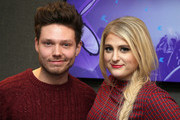 (EXCLUSIVE COVERAGE)  KISS Prenter Will Manning poses with Meghan Trainor as she visits the Kiss FM Studio's on January 23, 2015 in London, England.