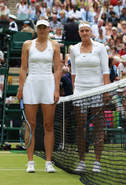 Petra Kvitova Maria Sharapova of Russia (L) and Petra Kvitova of the Czech Republic pose before their Ladies' final round match on Day Twelve of the Wimbledon Lawn Tennis Championships at the All England Lawn Tennis and Croquet Club on July 2, 2011 in London, England.