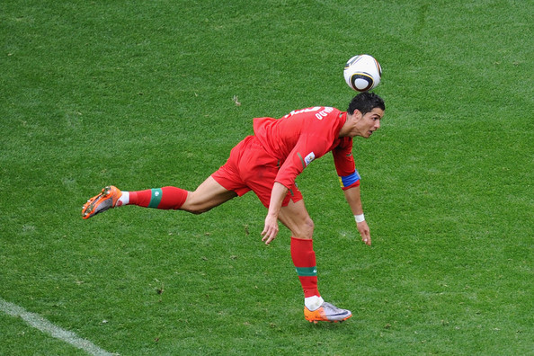 Cristiano Ronaldo of Portugal controls the ball as he scores his  team's sixth goal during the 2010 FIFA World Cup South Africa Group G  match between Portugal and North Korea at the Green Point Stadium on  June 21, 2010 in Cape Town, South Africa.
