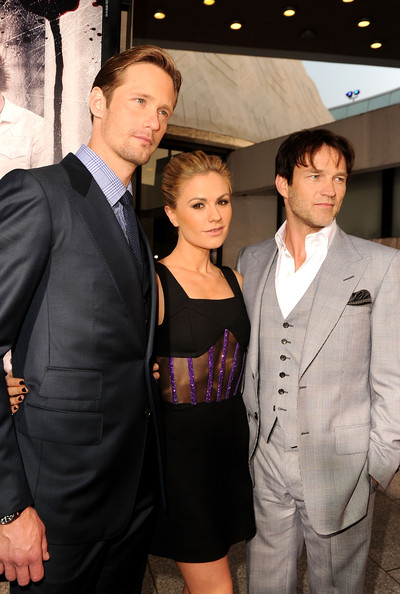 "(L-R) Actors Alexander Skarsgard, Anna Paquin and Stephen Moyer arrive at premiere of HBO's ""True Blood"" Season 4 at ArcLight Cinemas Cinerama Dome on June 21, 2011 in Los Angeles, California."