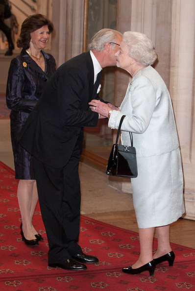 Queen Slivia of Sweden and King Carl XVI Gustaf of Sweden are greeted by Queen Elizabeth II at a lunch For Sovereign Monarchs in honour of Queen Elizabeth II's Diamond Jubilee, at Windsor Castle, on May 18, 2012 in Windsor, England.