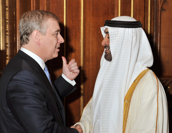 Prince Andrew, Duke of York, talks to the Crown Prince of Abu Dhabi Mohammed bin Zayed during a reception in the Waterloo Chamber, before her Sovereign Monarch's Jubilee lunch, at Windsor Castle, on May 18, 2012 in Windsor, England.