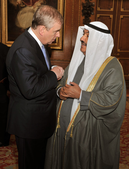 Prince Andrew, Duke of York, talks to Emir of Qatar Sheikh  Hamad bin Khalifa Al Thani during a reception in the Waterloo Chamber, before her Sovereign Monarch's Jubilee lunch, at Windsor Castle, on May 18, 2012 in Windsor, England.