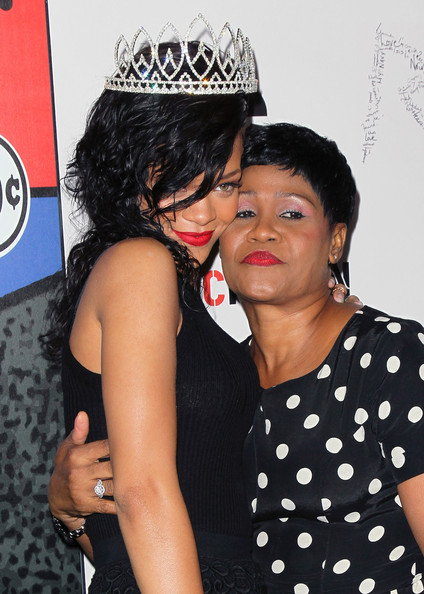Rihanna Recording artist Rihanna (L) and mother Monica Braithwaite attend Rihanna's naming as the Queen of the West Hollywood Halloween Carnaval by the City of West Hollywood in celebration of Halloween 2012 at Greystone Manor Supperclub on October 31, 2012 in West Hollywood, California.