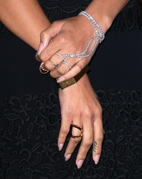 Rihanna Recording artist Rihanna (jewelry detail) attends her naming as the Queen of the West Hollywood Halloween Carnaval by the City of West Hollywood in celebration of Halloween 2012 at Greystone Manor Supperclub on October 31, 2012 in West Hollywood, California.