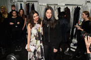 (L-R) Victoria Justice and designer Rebecca Minkoff backstage at Rebecca Minkoff during Mercedes-Benz Fashion Week Fall 2015 at Lincoln Center for the Performing Arts on February 13, 2015 in New York City.