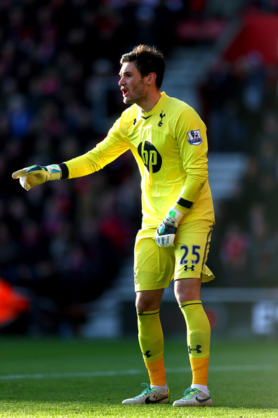 Goalkeeper Hugo Lloris of Spurs directs his defence during the Barclays Premier League match between Southampton and Tottenham Hotspur at St Mary's Stadium on December 22, 2013 in Southampton, England.